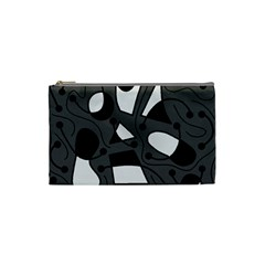 Playful Abstract Art   Gray Cosmetic Bag (small)  by Valentinaart