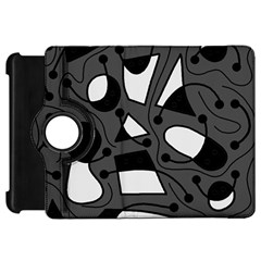 Playful Abstract Art   Gray Kindle Fire Hd Flip 360 Case by Valentinaart