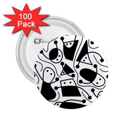 Playful Abstract Art   White And Black 2 25  Buttons (100 Pack)  by Valentinaart