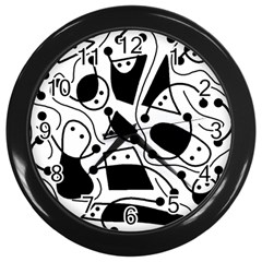 Playful abstract art - white and black Wall Clocks (Black)