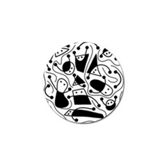 Playful Abstract Art   White And Black Golf Ball Marker by Valentinaart