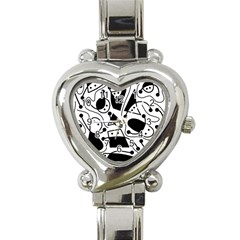 Playful Abstract Art   White And Black Heart Italian Charm Watch by Valentinaart