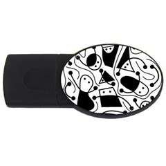 Playful Abstract Art   White And Black Usb Flash Drive Oval (4 Gb)  by Valentinaart