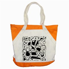 Playful Abstract Art   White And Black Accent Tote Bag by Valentinaart