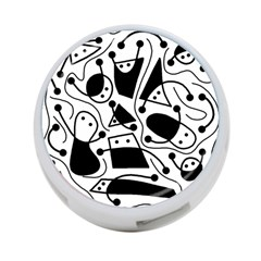 Playful Abstract Art   White And Black 4 Port Usb Hub (one Side) by Valentinaart