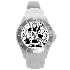 Playful Abstract Art   White And Black Round Plastic Sport Watch (l) by Valentinaart