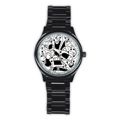 Playful Abstract Art   White And Black Stainless Steel Round Watch by Valentinaart