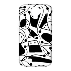 Playful Abstract Art   White And Black Samsung Galaxy S4 Classic Hardshell Case (pc+silicone) by Valentinaart