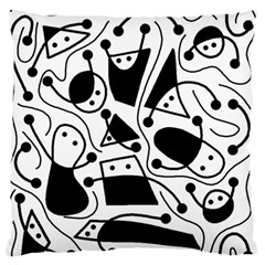 Playful Abstract Art   White And Black Standard Flano Cushion Case (one Side) by Valentinaart