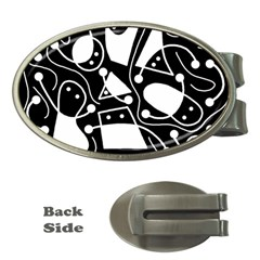Playful Abstract Art   Black And White Money Clips (oval)  by Valentinaart