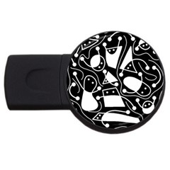 Playful Abstract Art   Black And White Usb Flash Drive Round (2 Gb)