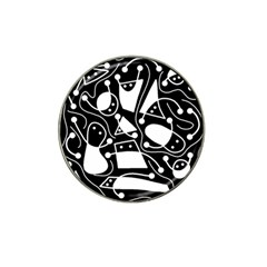 Playful Abstract Art   Black And White Hat Clip Ball Marker (10 Pack) by Valentinaart