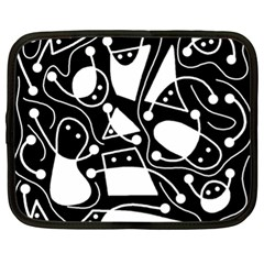 Playful Abstract Art   Black And White Netbook Case (xl)  by Valentinaart
