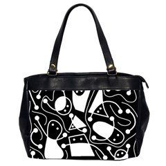 Playful Abstract Art   Black And White Office Handbags (2 Sides)  by Valentinaart