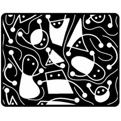 Playful Abstract Art   Black And White Fleece Blanket (medium)  by Valentinaart
