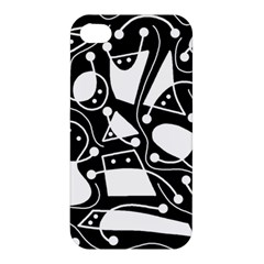 Playful abstract art - Black and white Apple iPhone 4/4S Premium Hardshell Case