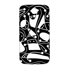 Playful Abstract Art   Black And White Samsung Galaxy S4 I9500/i9505  Hardshell Back Case by Valentinaart