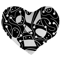 Playful Abstract Art   Black And White Large 19  Premium Flano Heart Shape Cushions by Valentinaart