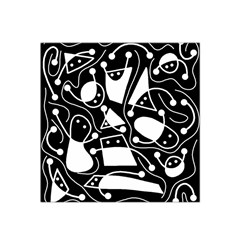 Playful Abstract Art   Black And White Satin Bandana Scarf by Valentinaart