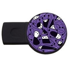 Playful Abstract Art   Purple Usb Flash Drive Round (2 Gb)  by Valentinaart