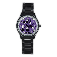 Playful Abstract Art   Purple Stainless Steel Round Watch by Valentinaart