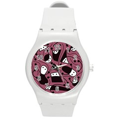 Playful Abstraction Round Plastic Sport Watch (m) by Valentinaart