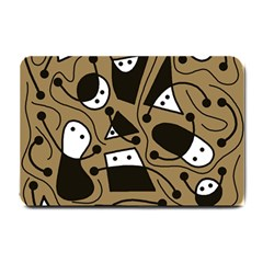 Playful Abstract Art   Brown Small Doormat  by Valentinaart