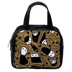 Playful abstract art - Brown Classic Handbags (One Side) by Valentinaart