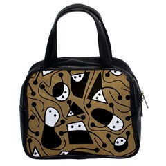 Playful Abstract Art   Brown Classic Handbags (2 Sides) by Valentinaart