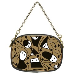 Playful Abstract Art   Brown Chain Purses (one Side)  by Valentinaart