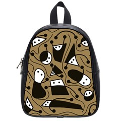Playful Abstract Art   Brown School Bags (small)  by Valentinaart