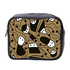 Playful abstract art - Brown Mini Toiletries Bag 2-Side