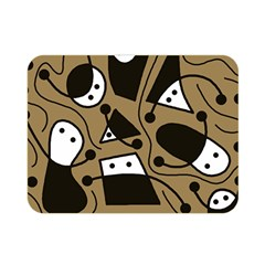 Playful Abstract Art   Brown Double Sided Flano Blanket (mini)  by Valentinaart