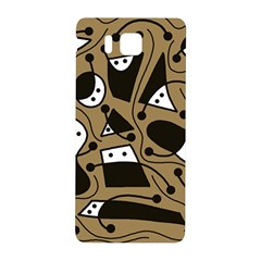 Playful Abstract Art   Brown Samsung Galaxy Alpha Hardshell Back Case by Valentinaart