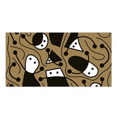 Playful Abstract Art   Brown Satin Shawl by Valentinaart