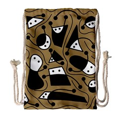 Playful Abstract Art   Brown Drawstring Bag (large) by Valentinaart