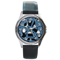 Playful Abstract Art   Blue Round Metal Watch by Valentinaart