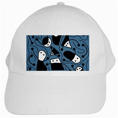 Playful Abstract Art   Blue White Cap