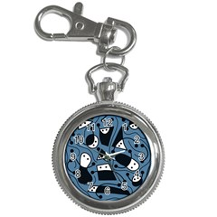 Playful Abstract Art   Blue Key Chain Watches by Valentinaart