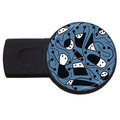 Playful Abstract Art   Blue Usb Flash Drive Round (2 Gb)