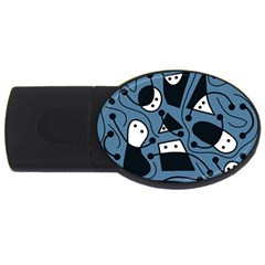 Playful Abstract Art   Blue Usb Flash Drive Oval (4 Gb)  by Valentinaart