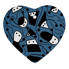 Playful Abstract Art   Blue Heart Ornament (2 Sides) by Valentinaart