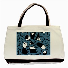 Playful Abstract Art   Blue Basic Tote Bag (two Sides) by Valentinaart