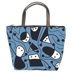 Playful Abstract Art   Blue Bucket Bags by Valentinaart