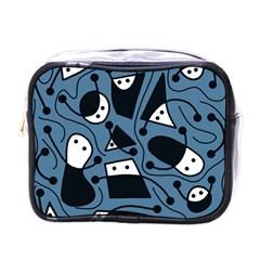 Playful Abstract Art   Blue Mini Toiletries Bags