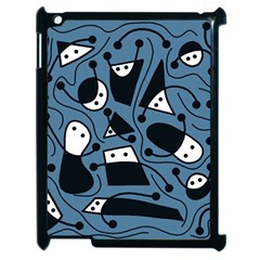 Playful Abstract Art   Blue Apple Ipad 2 Case (black) by Valentinaart