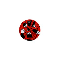 Playful Abstract Art   Red 1  Mini Buttons by Valentinaart