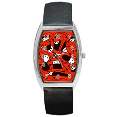 Playful Abstract Art   Red Barrel Style Metal Watch by Valentinaart