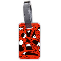 Playful abstract art - red Luggage Tags (One Side)  by Valentinaart