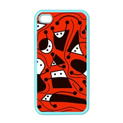 Playful Abstract Art   Red Apple Iphone 4 Case (color) by Valentinaart